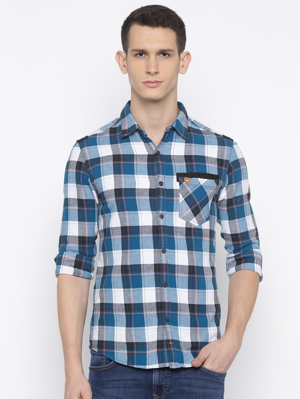 Spykar   spykar Blue Checked Slim Fit Casual Shirt