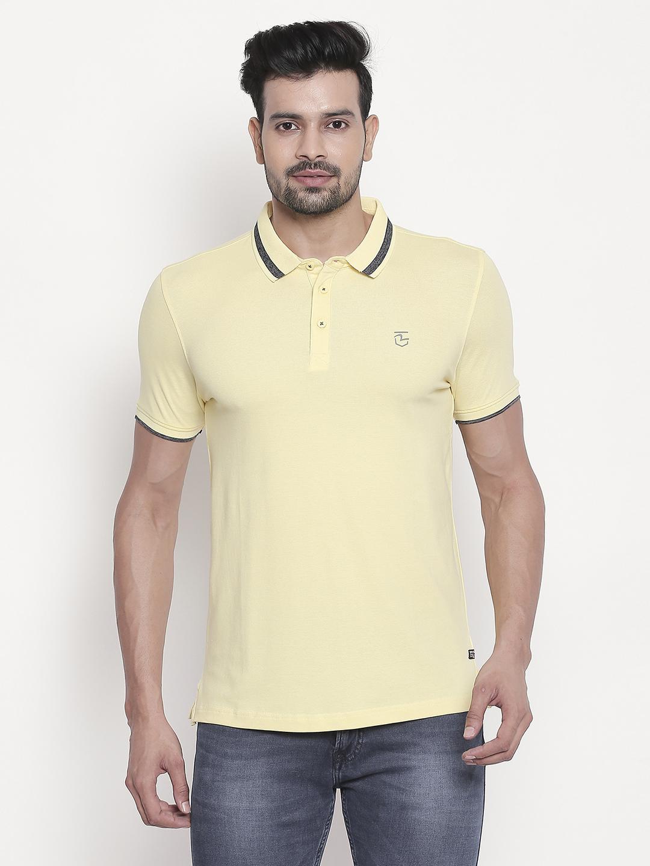 Spykar | Pastel Yellow Solid Polo T-Shirt