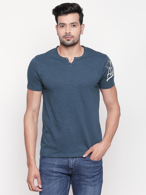 Spykar   spykar Teal Melange Slim Fit T-Shirt