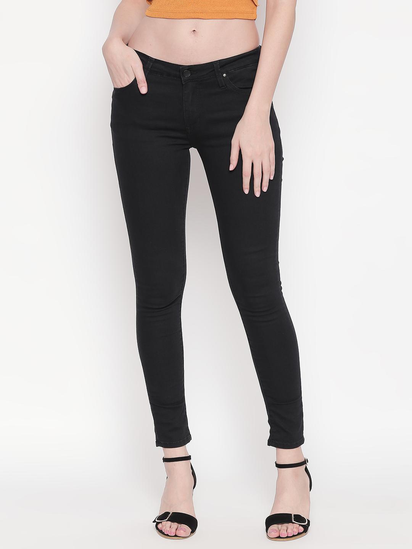 Spykar | Spykar Black Solid Super Skinny Ankle Length Fit Jeans