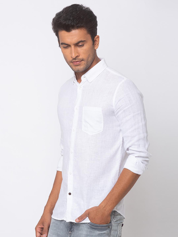 Spykar   spykar White Linen Slim Fit Shirt