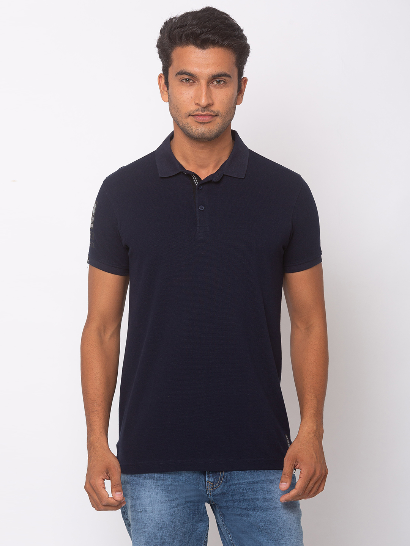 Spykar | spykar Navy Blue Cotton Slim Fit T-Shirt