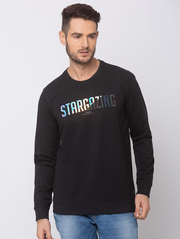 Spykar | spykar Black Blended Slim Fit Sweat Shirt