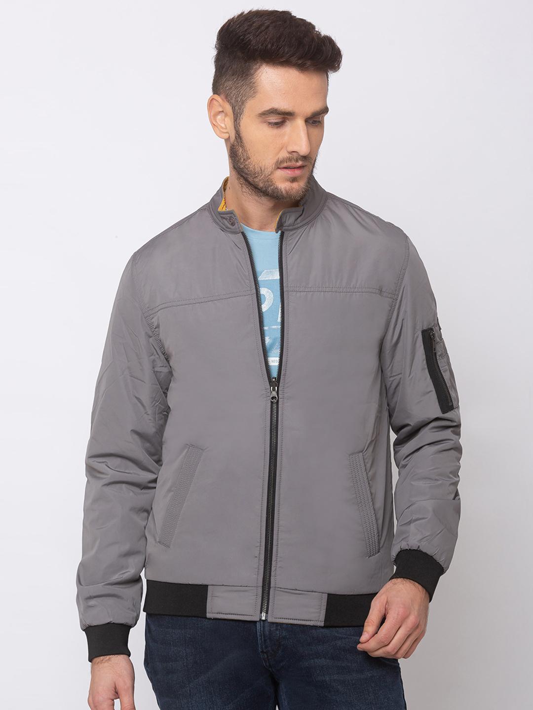 Spykar   spykar Grey Polyester Straight Fit Jacket