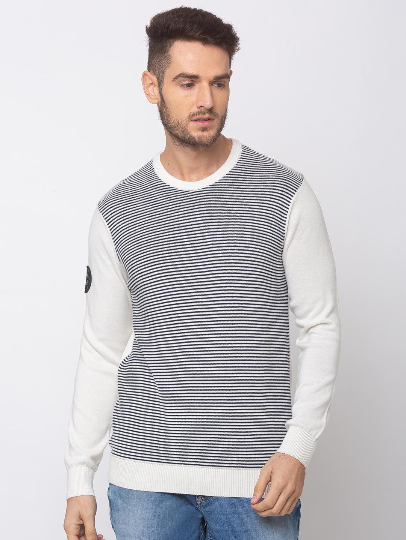 Spykar | spykar Off White Navy Cotton Regular Fit Sweater