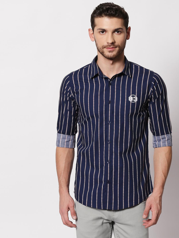 Spykar | spykar Navy Blue Cotton Slim Fit Shirt