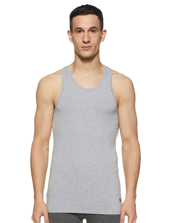 Spykar | Underjeans By Spykar Grey Cotton Lycra Vest (Round Neck)