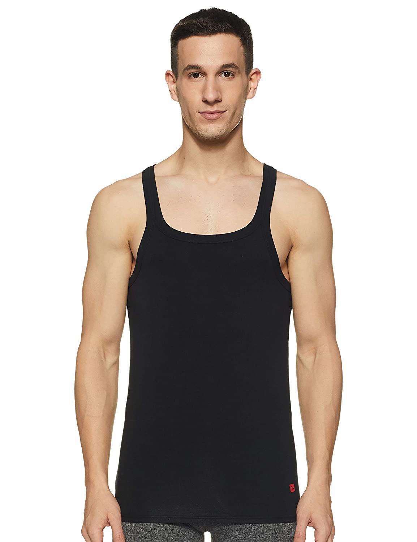 Spykar   Underjeans By Spykar Black Cotton Lycra Vest (Square Neck)