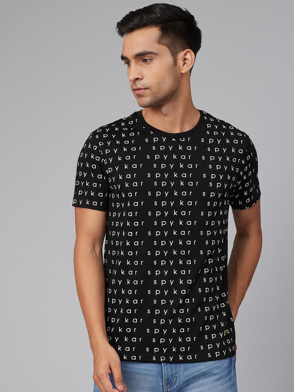 Spykar | Underjeans By Spykar Black Cotton Printed Round Neck T-Shirts