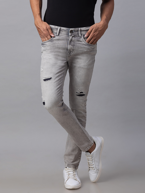 Spykar | Spykar Grey Cotton Skinny Fit Jeans (Super Skinny)