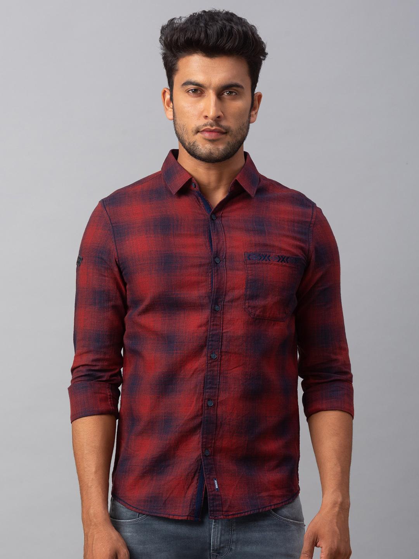 Spykar | spykar Red Cotton Slim Fit Shirt (Slim)