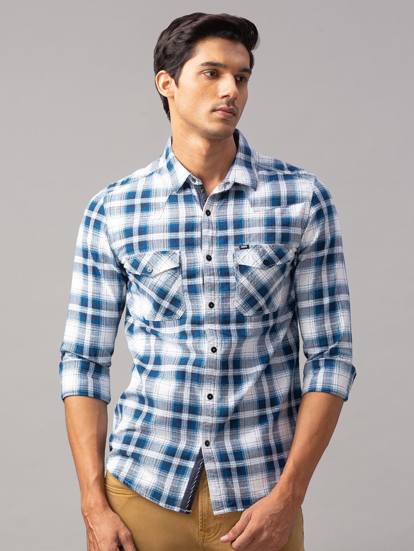 Spykar   spykar Blue Cotton Slim Fit Shirt (Slim)