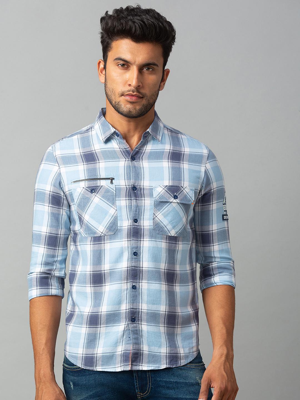 Spykar | spykar Blue Cotton Slim Fit Shirt (Slim)