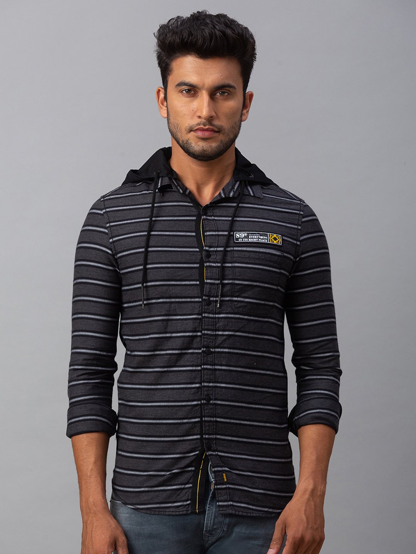 Spykar   spykar Grey Cotton Slim Fit Shirt (Slim)