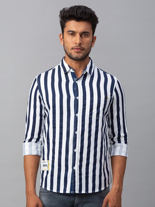 Spykar | spykar White Cotton Slim Fit Shirt (Slim)