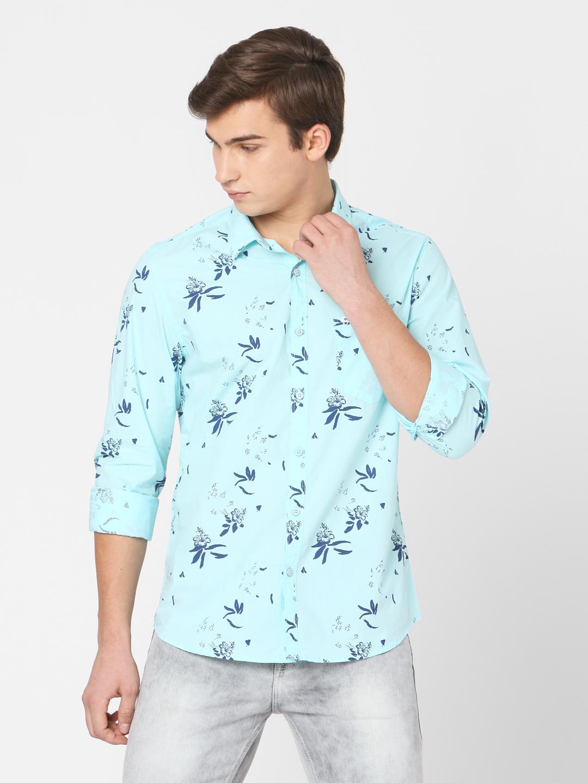 Spykar | Spykar Blue Cotton Slim Fit SHIRTS