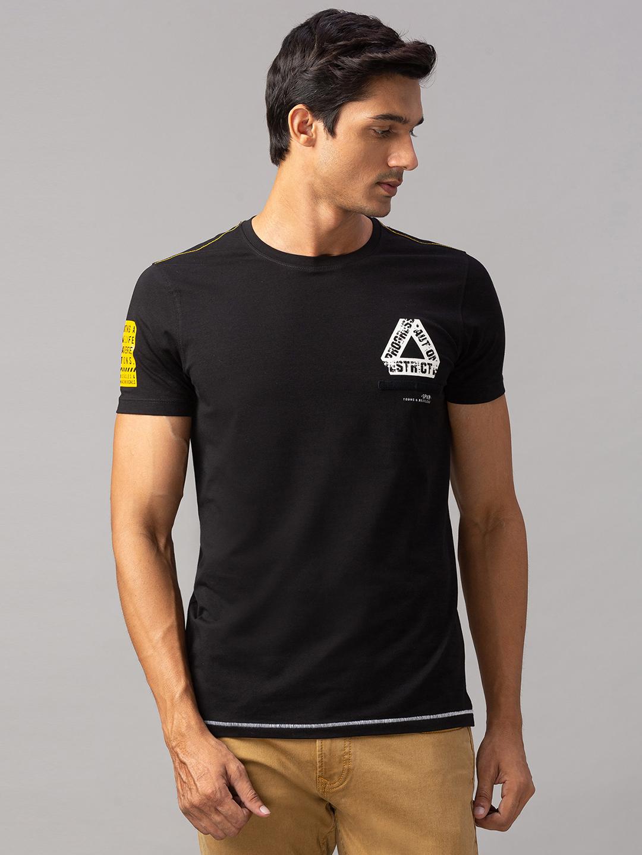 Spykar | spykar Black Cotton Slim Fit T-Shirt (Slim)