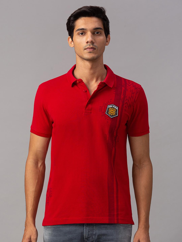 Spykar | spykar Red Cotton Slim Fit T-Shirt (Slim)