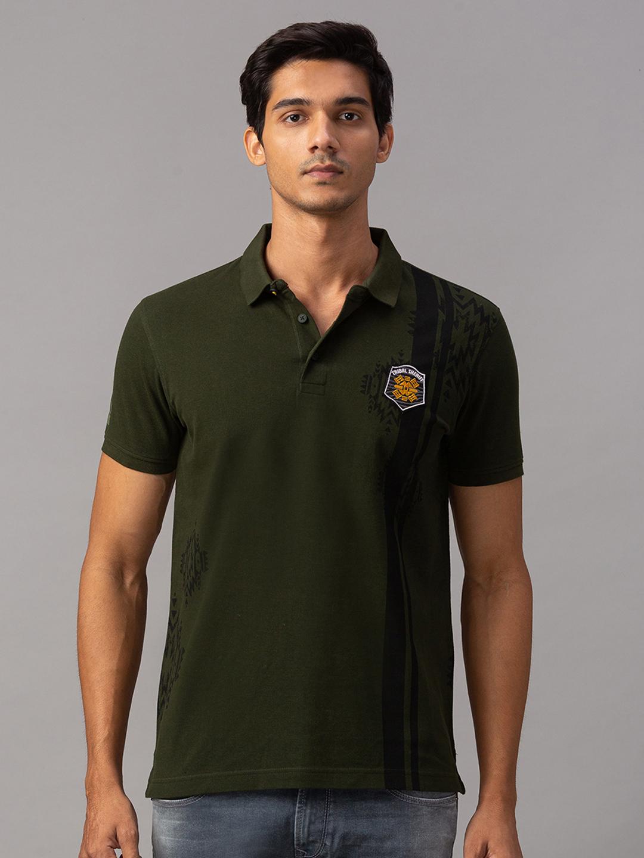 Spykar   spykar Green Cotton Slim Fit T-Shirt (Slim)