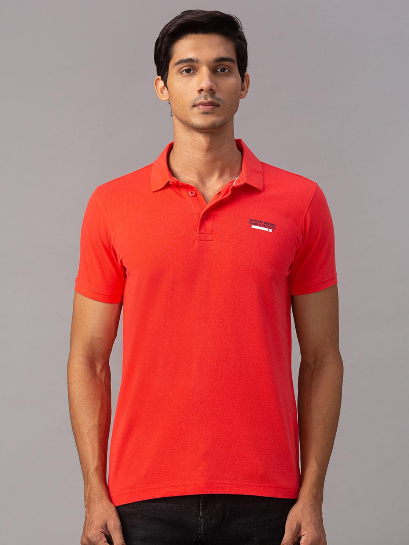 Spykar | Spykar Orange Cotton Slim Fit T-Shirt (Slim)