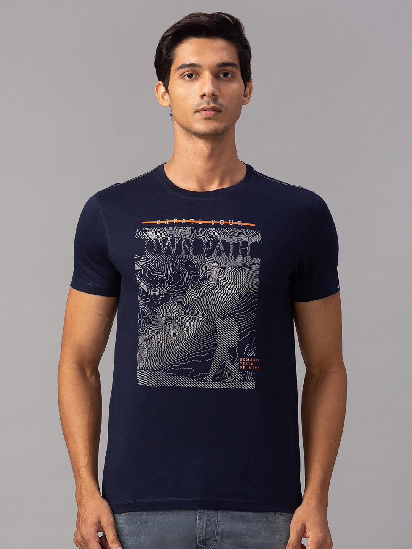 Spykar | spykar Blue Cotton Slim Fit T-Shirt (Slim)