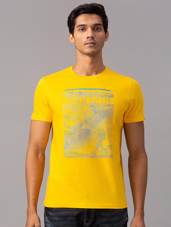Spykar | spykar Yellow Cotton Slim Fit T-Shirt (Slim)