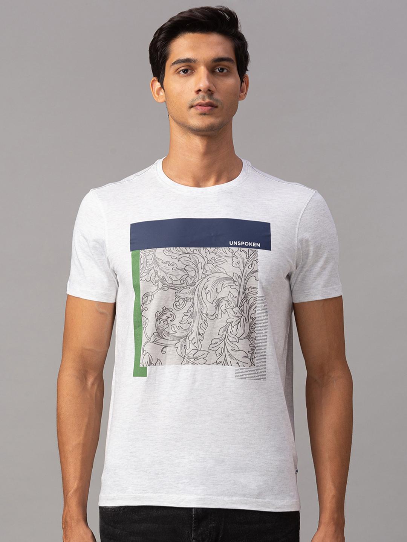 Spykar | spykar Grey Cotton Slim Fit T-Shirt (Slim)
