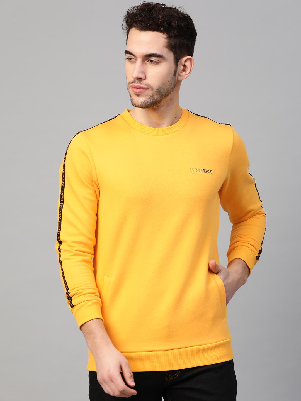 Spykar | Underjeans By Spykar Mustard Cotton Solid Round Neck Sweatshirts