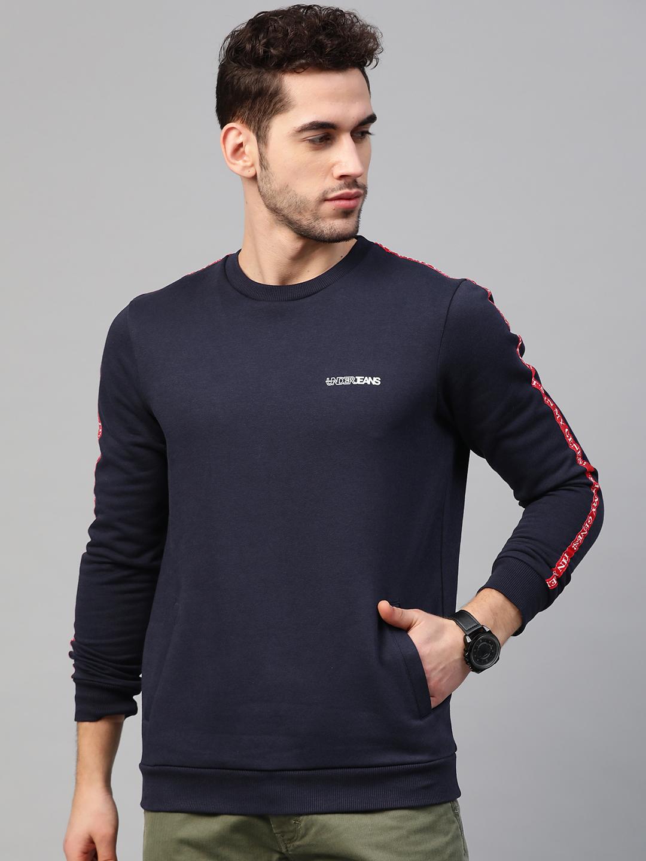 Spykar | Underjeans By Spykar Navy Cotton Solid Round Neck Sweatshirts