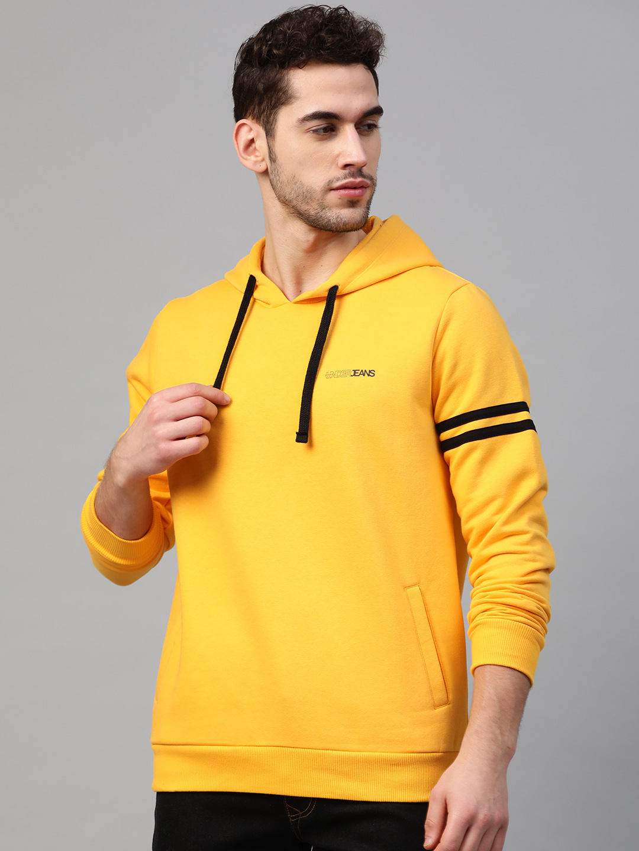 Spykar | Underjeans By Spykar Mustard Cotton Solid Hooded Sweatshirts