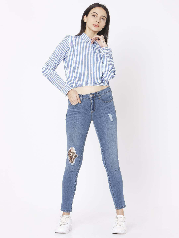 Spykar | Spykar Blue Cotton Women Shirt