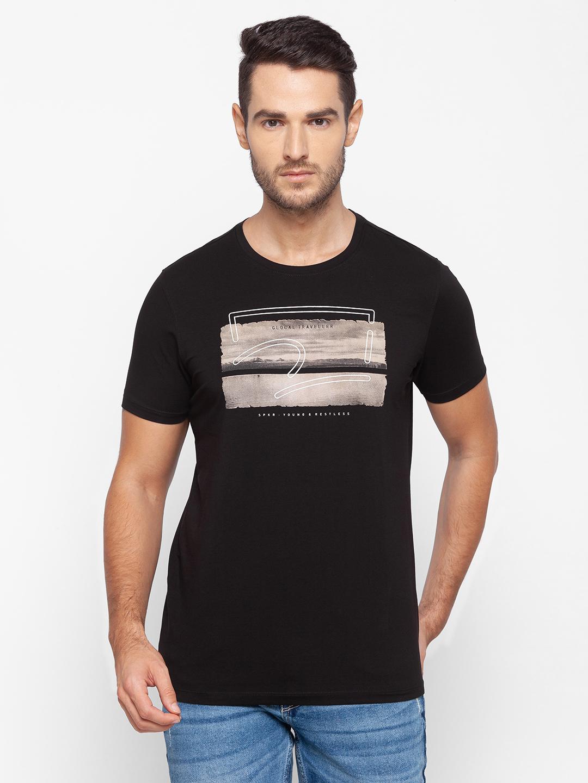 Spykar | Spykar Black Cotton Men T-Shirt