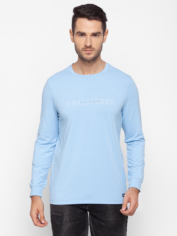 Spykar | Spykar Blue Cotton Men T-Shirt