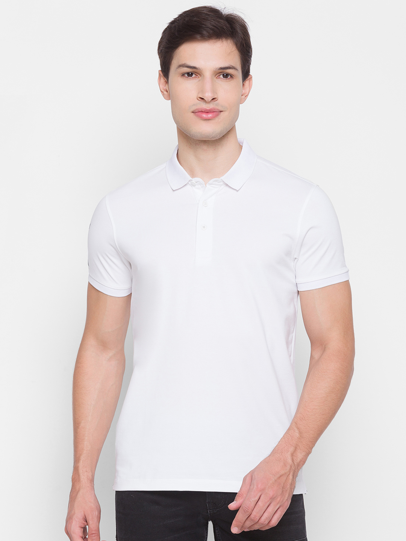 Spykar | Spykar White Cotton Men T-Shirt