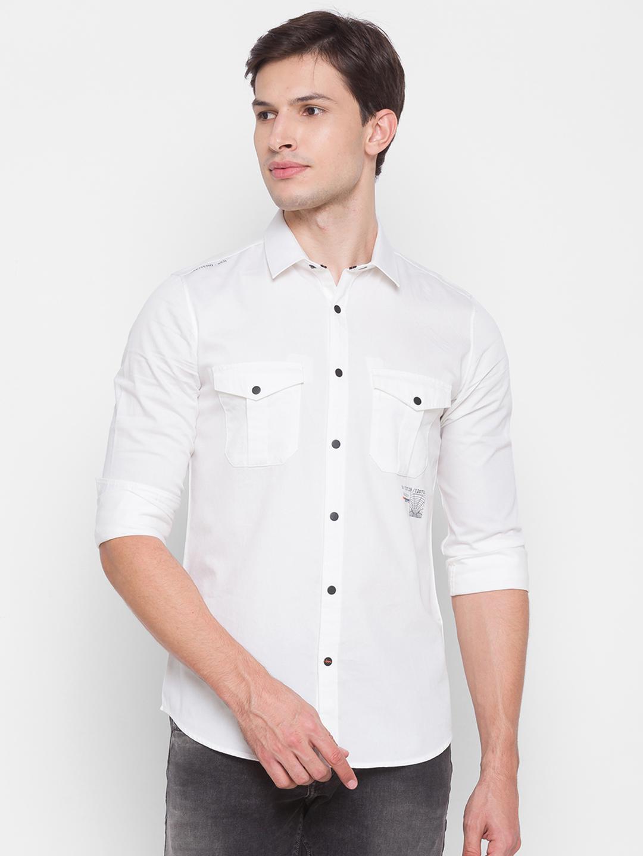 Spykar | Spykar White Cotton Men Shirt