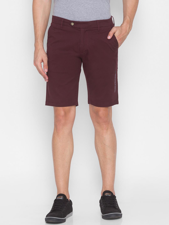 Spykar | Spykar Red Cotton Men Shorts (SHORTS)