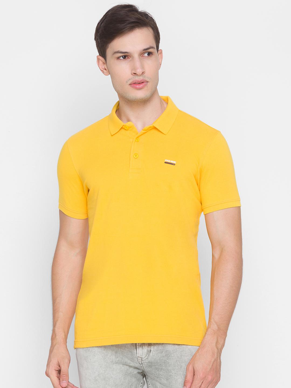 Spykar | Spykar Yellow Cotton Men T-shirt