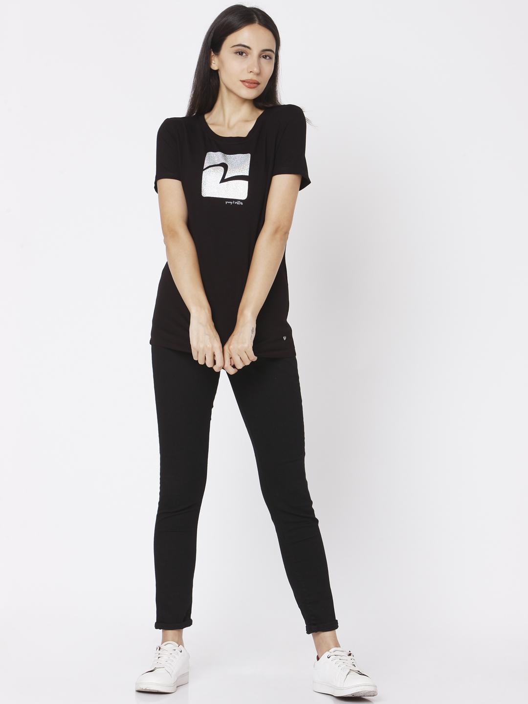 Spykar | Spykar Black Cotton Women T-Shirt