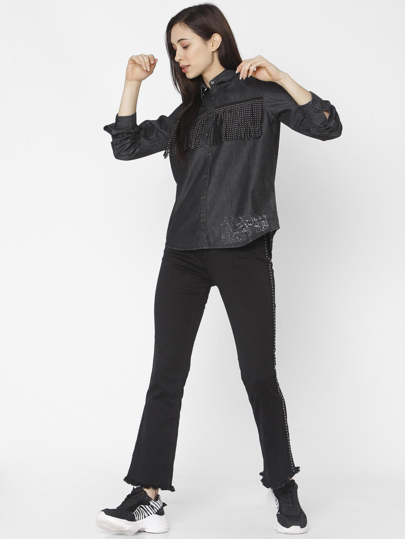 Spykar | Spykar Black Cotton Women Shirt