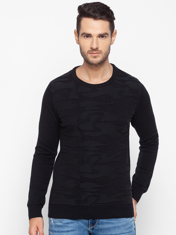 Spykar | Spykar Black Cotton Men Sweater