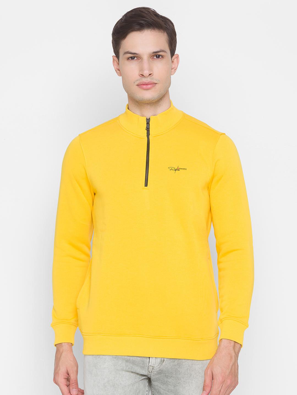 Spykar | Spykar Yellow Cotton Men Sweatshirt