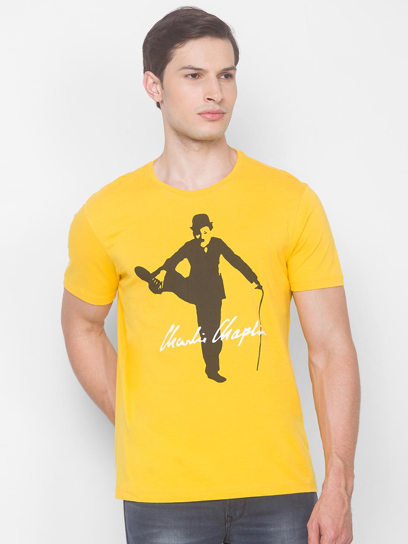 Spykar | Spykar CHROME YELLOW Cotton T-Shirts