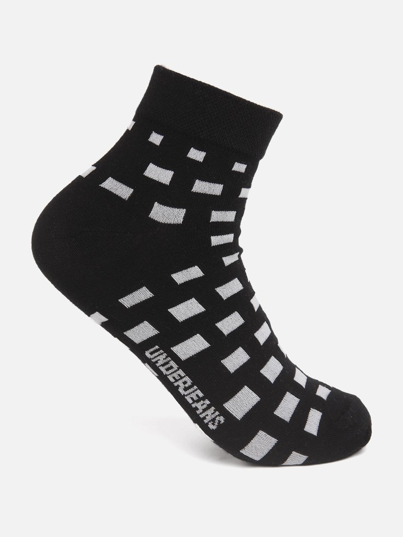 Spykar   Underjeans by Spykar Men Black/White Ankle Length (Non Terry) Single Pair of Socks