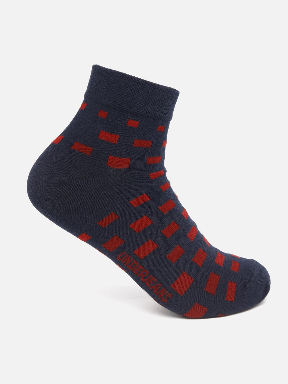 Spykar | Underjeans by Spykar Men Navy/Maroon Ankle Length (Non Terry) Single Pair of Socks