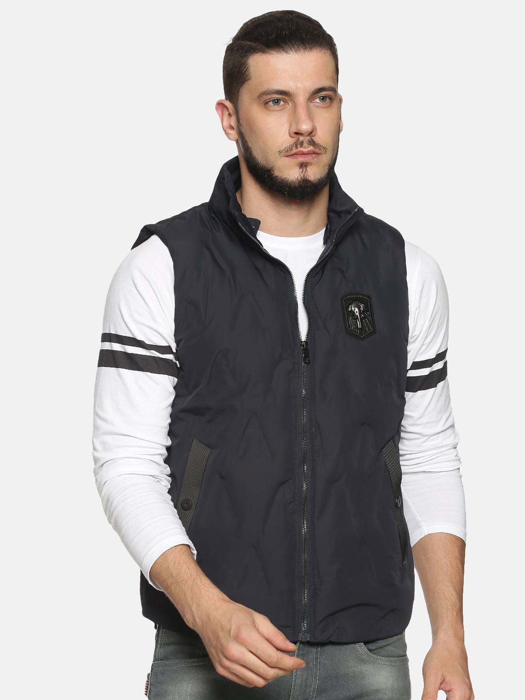 Showoff | Men Blue Solid Padded Jacket with Detachable Hood