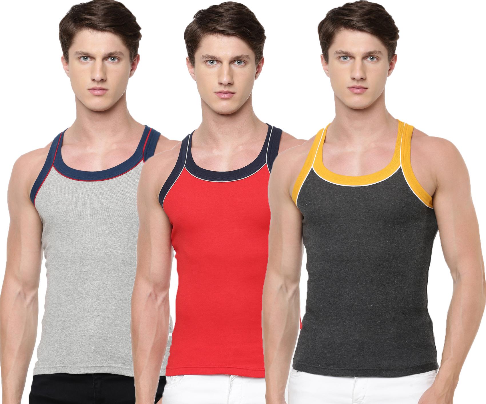 Ramraj Cotton | Ramraj Cotton Mens 100% Cotton Knitted Assorted Vests (Combo 3)