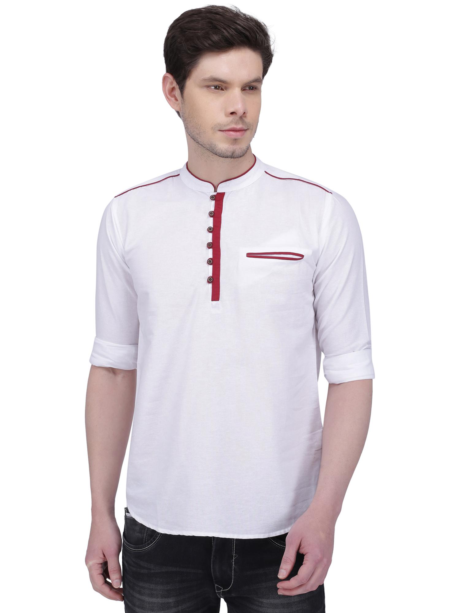 Kuons Avenue | Kuons Avenue Men's White Linen Cotton Short Kurta- KACLFS1153WH
