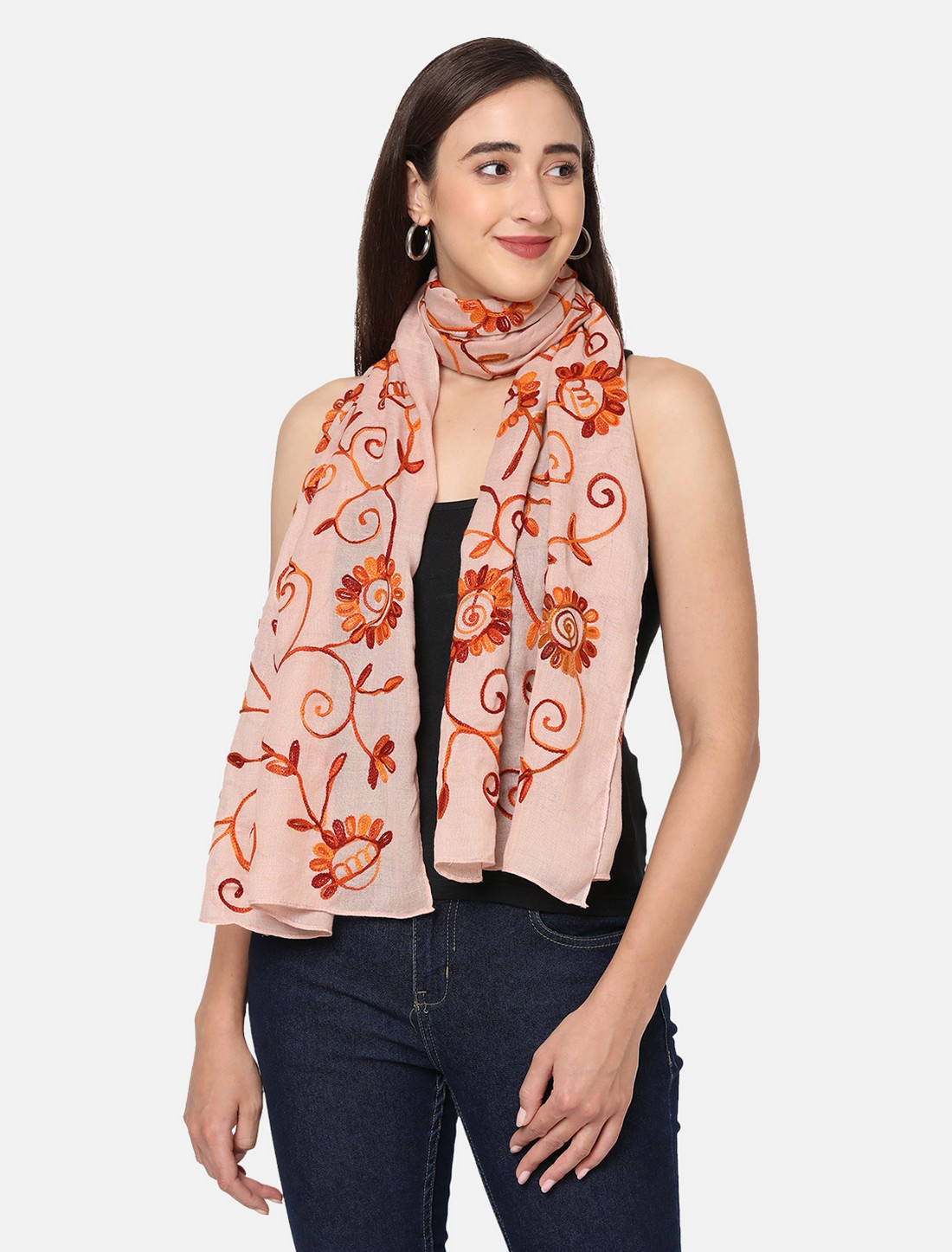 Get Wrapped   Get Wrapped All Over Embroidered Scarves for Women