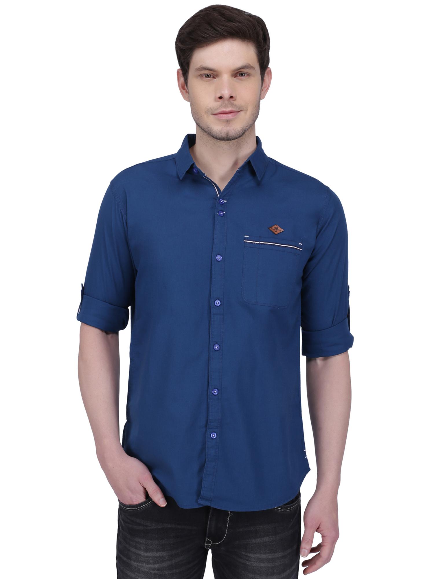 Kuons Avenue | Kuons Avenue Men's Royal Blue Linen Cotton Shirt- KACLFS1303BU