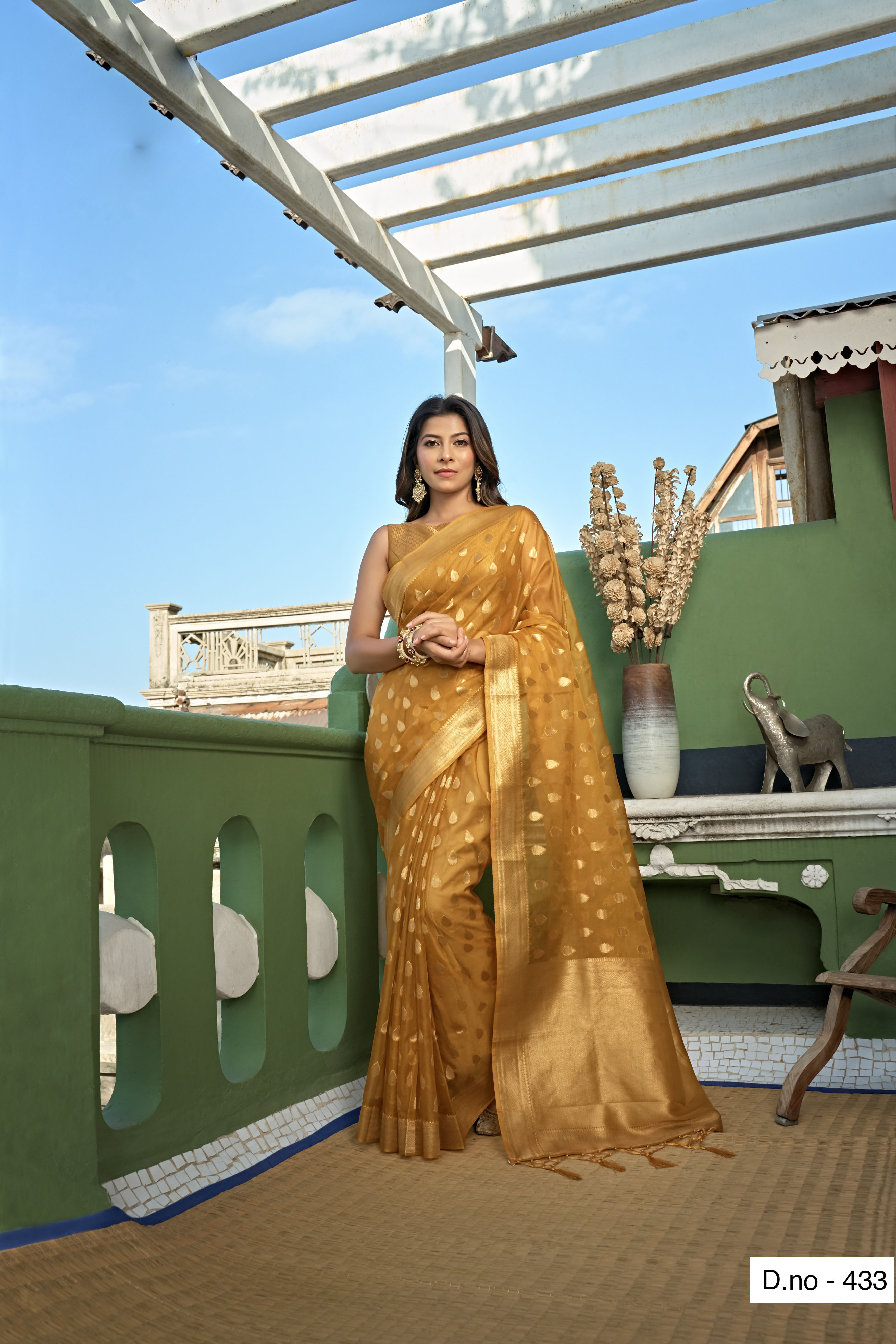 POONAM TEXTILE   Fashion Banaras Beige Organza Silk Hand Dyed Zari Festive Saree